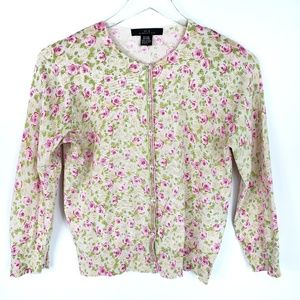 Silx by August Silk Crop Floral Cardigan Sweater